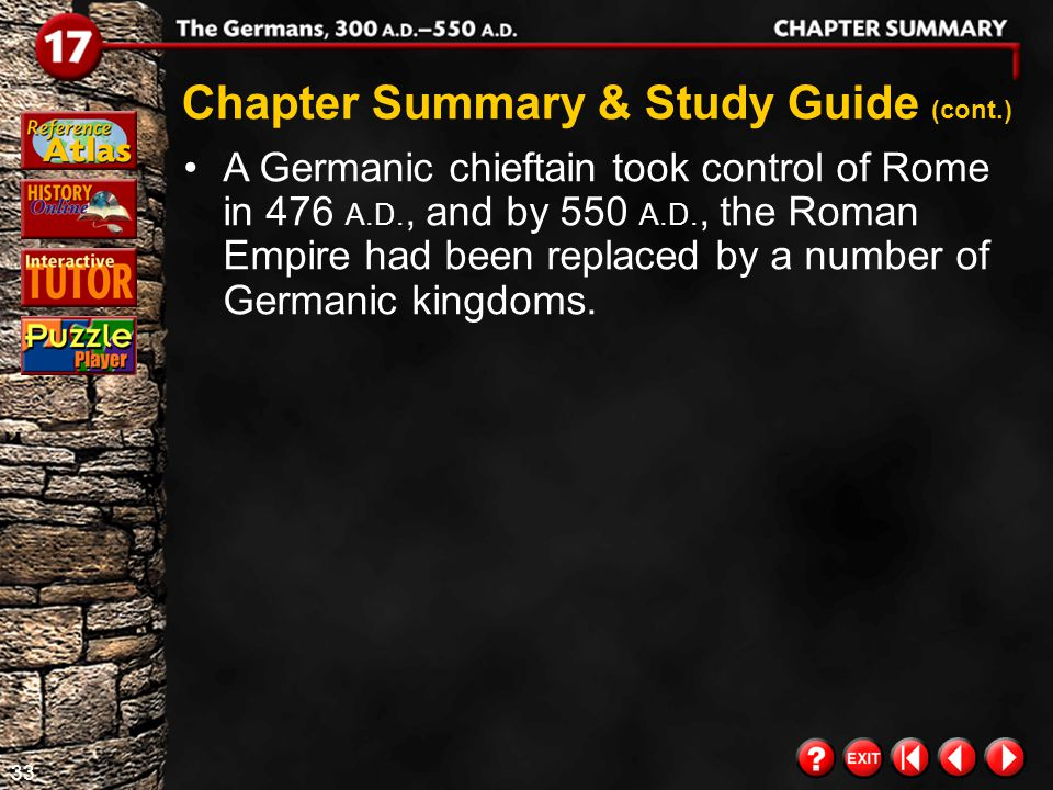32 Chapter Summary 2 Chapter Summary & Study Guide (cont.) Click the mouse button or press the Space Bar to display the information. The Germans belie