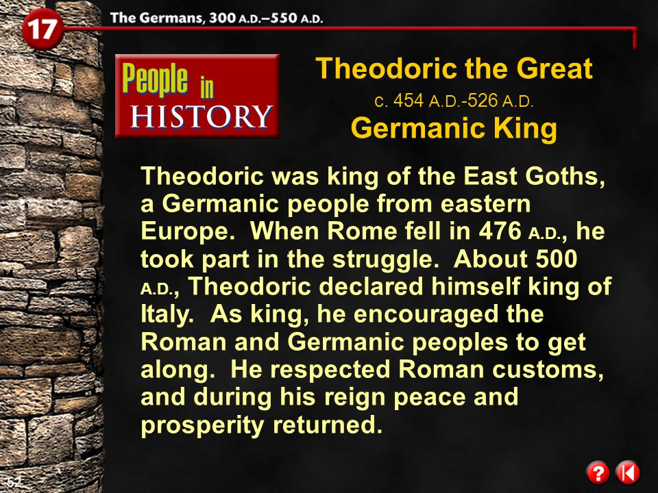 51 Global Chronology Click the mouse button or press the Space Bar to display the information. 378 A.D. Battle of Adrianople 300 A.D. Romans allow gro