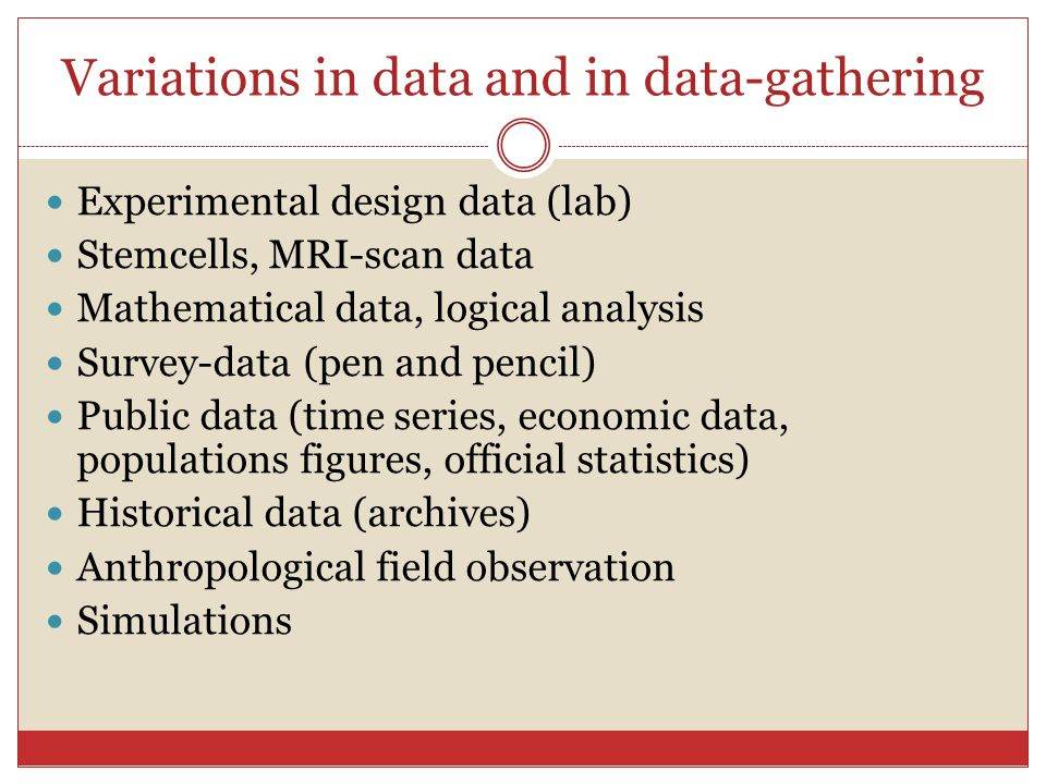 Variations in data and in data-gathering Experimental design data (lab) Stemcells, MRI-scan data Mathematical data, logical analysis Survey-data (pen and pencil) Public data (time series, economic data, populations figures, official statistics) Historical data (archives) Anthropological field observation Simulations