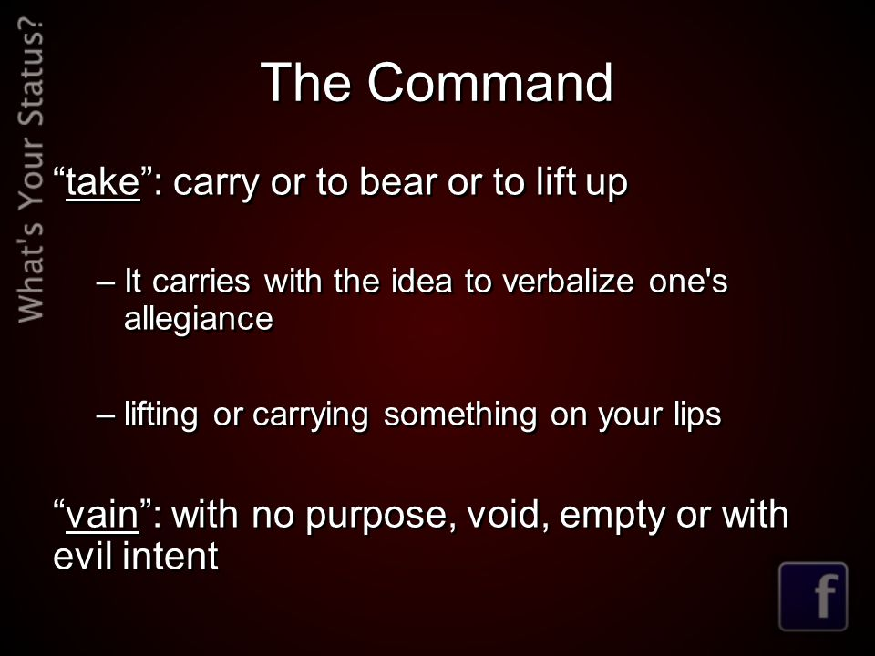 The Command take : carry or to bear or to lift up –It carries with the idea to verbalize one s allegiance –lifting or carrying something on your lips vain : with no purpose, void, empty or with evil intent take : carry or to bear or to lift up –It carries with the idea to verbalize one s allegiance –lifting or carrying something on your lips vain : with no purpose, void, empty or with evil intent