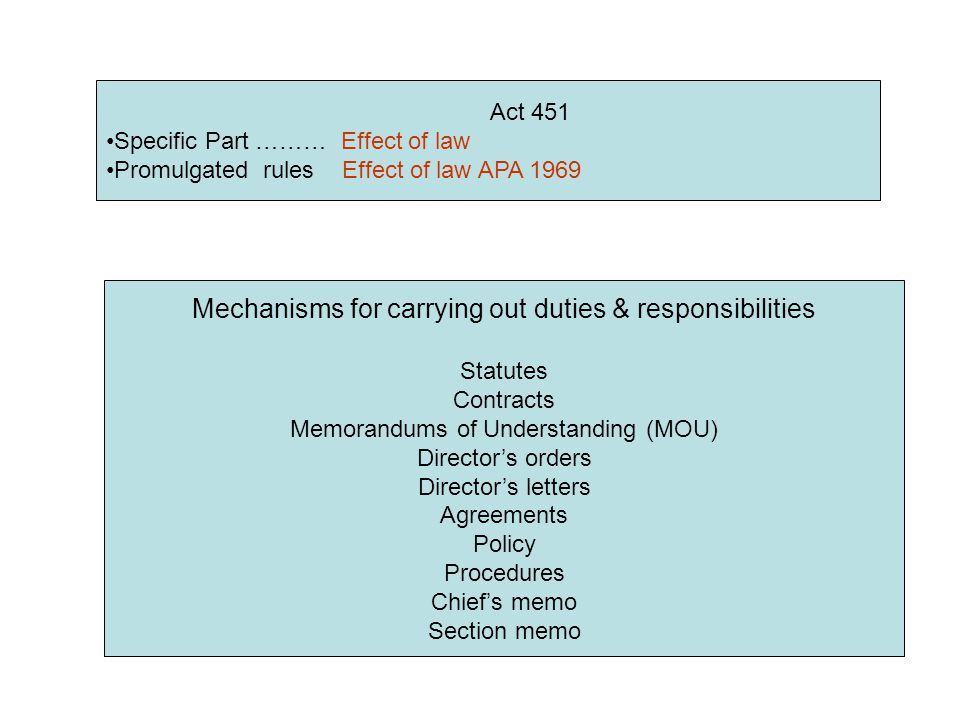 Act 451 Specific Part ……… Effect of law Promulgated rules Effect of law APA 1969 Mechanisms for carrying out duties & responsibilities Statutes Contracts Memorandums of Understanding (MOU) Director's orders Director's letters Agreements Policy Procedures Chief's memo Section memo