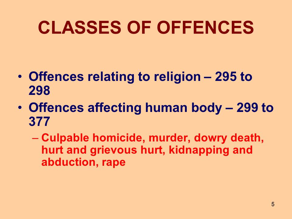 CLASSES OF OFFENCES Offences against property – 378 to 462 Theft, extortion, robbery, dacoity, criminal misappropriation, criminal breach of trust, cheating, mischief and trespass Offences relating to documents and property marks – 463 to 489-E Forgery Criminal breach of contract of service – 490 to 492 6