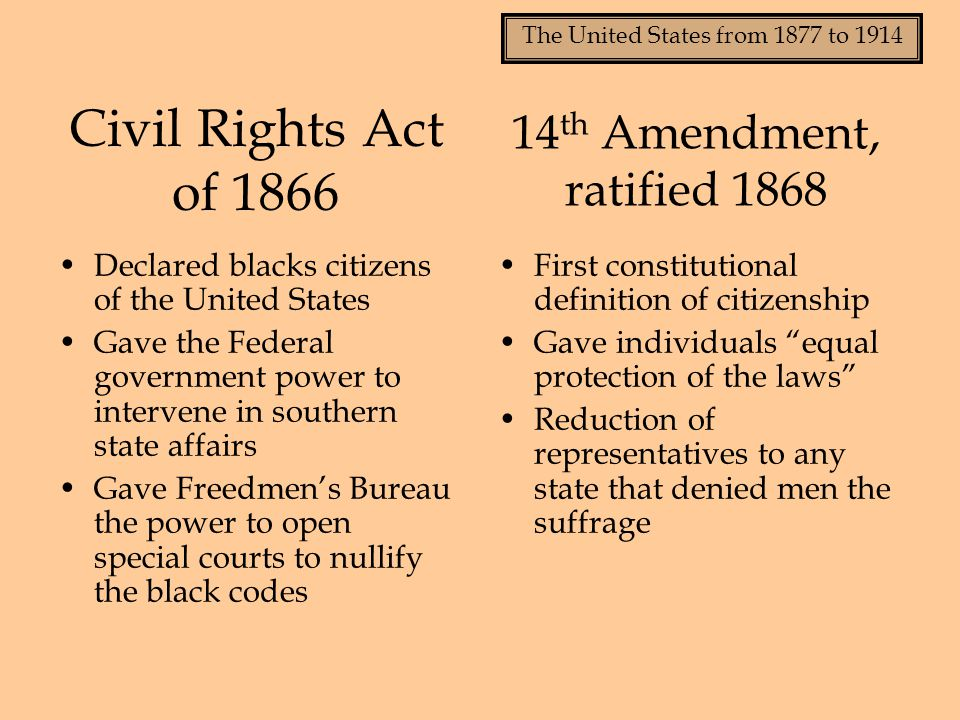The United States from 1877 to 1914 Civil Rights Act of 1866 Declared blacks citizens of the United States Gave the Federal government power to interv