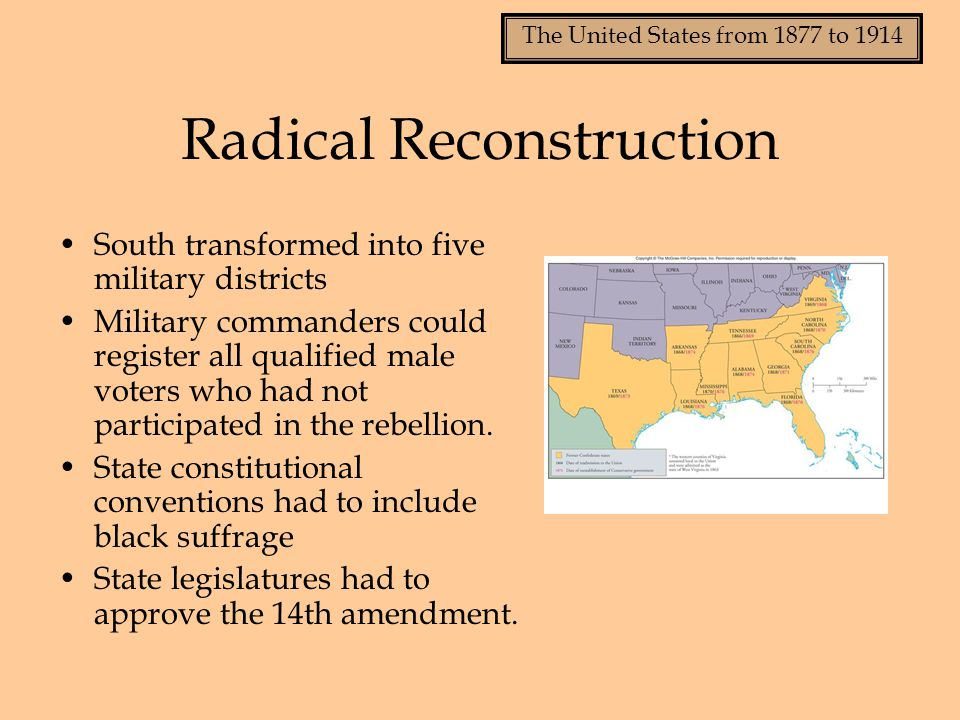 The United States from 1877 to 1914 The 15 th Amendment, 1869 Forbade states to deny suffrage on basis of race, color, or previous condition and servitude Made this a requirement for last states applying for repatriation: Mississippi, Virginia and Texas All southern states had to pass 15 th amendment to return to the Union