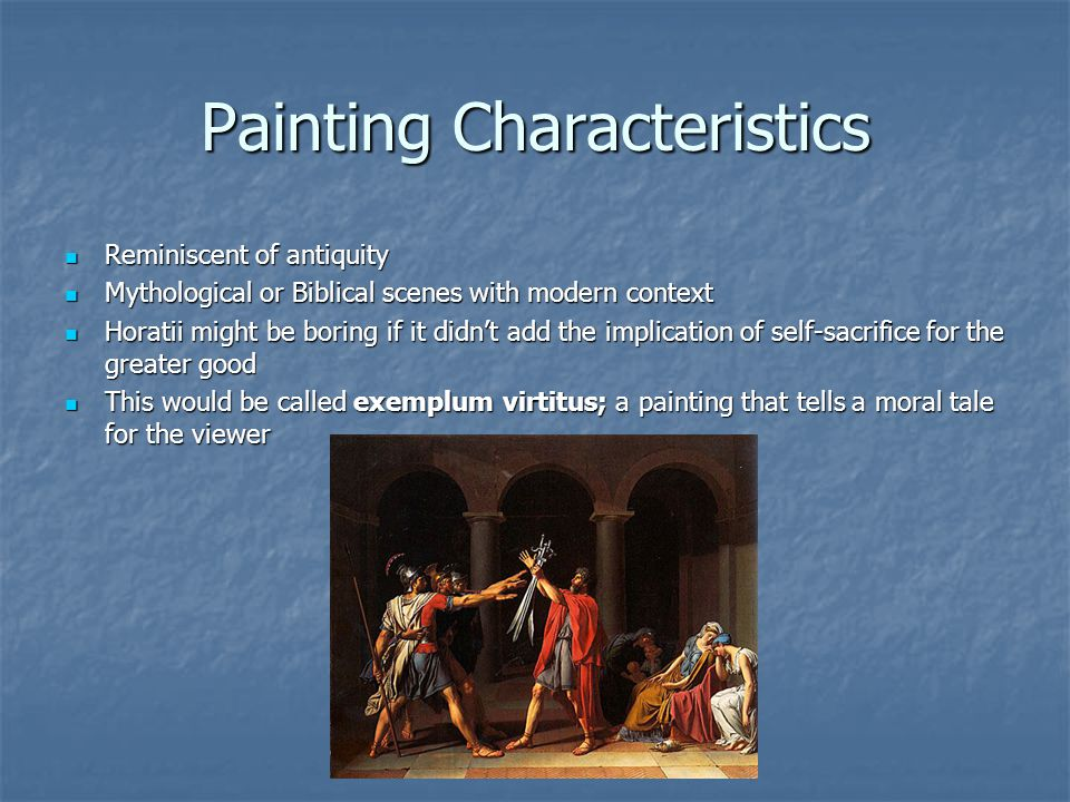 Painting Characteristics Reminiscent of antiquity Reminiscent of antiquity Mythological or Biblical scenes with modern context Mythological or Biblica