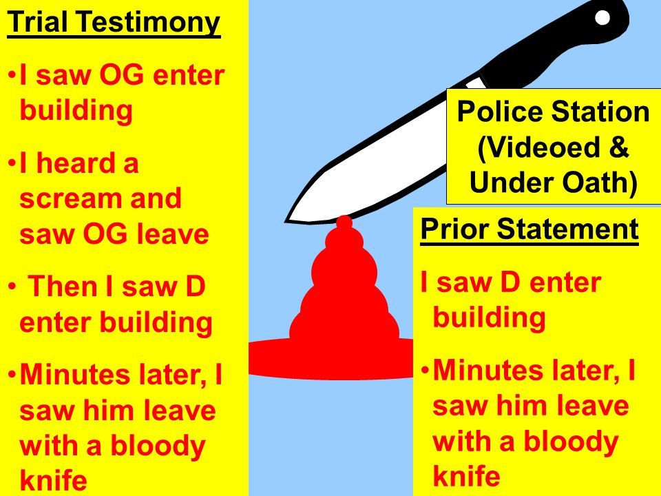 Prior Statement I saw D enter building Minutes later, I saw him leave with a bloody knife Trial Testimony I saw OG enter building I heard a scream and