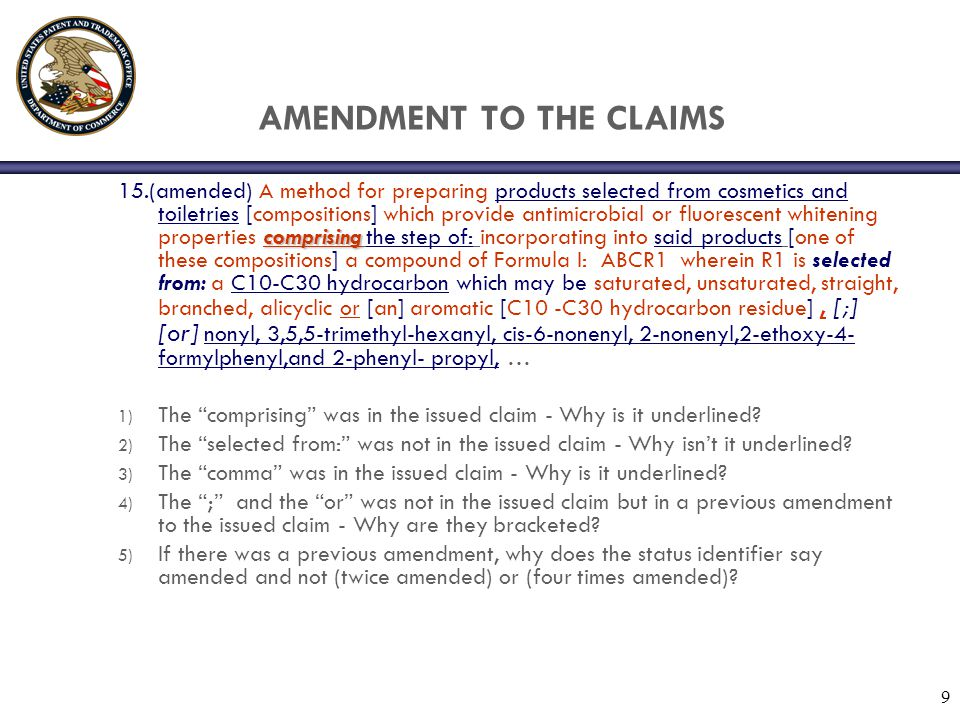 10 AMENDMENT TO SPECIFICATION (b)(1) Specification other than the claims.