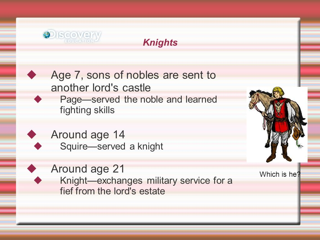 Knights  Age 7, sons of nobles are sent to another lord s castle  Page—served the noble and learned fighting skills  Around age 14  Squire—served a knight  Around age 21  Knight—exchanges military service for a fief from the lord s estate Which is he