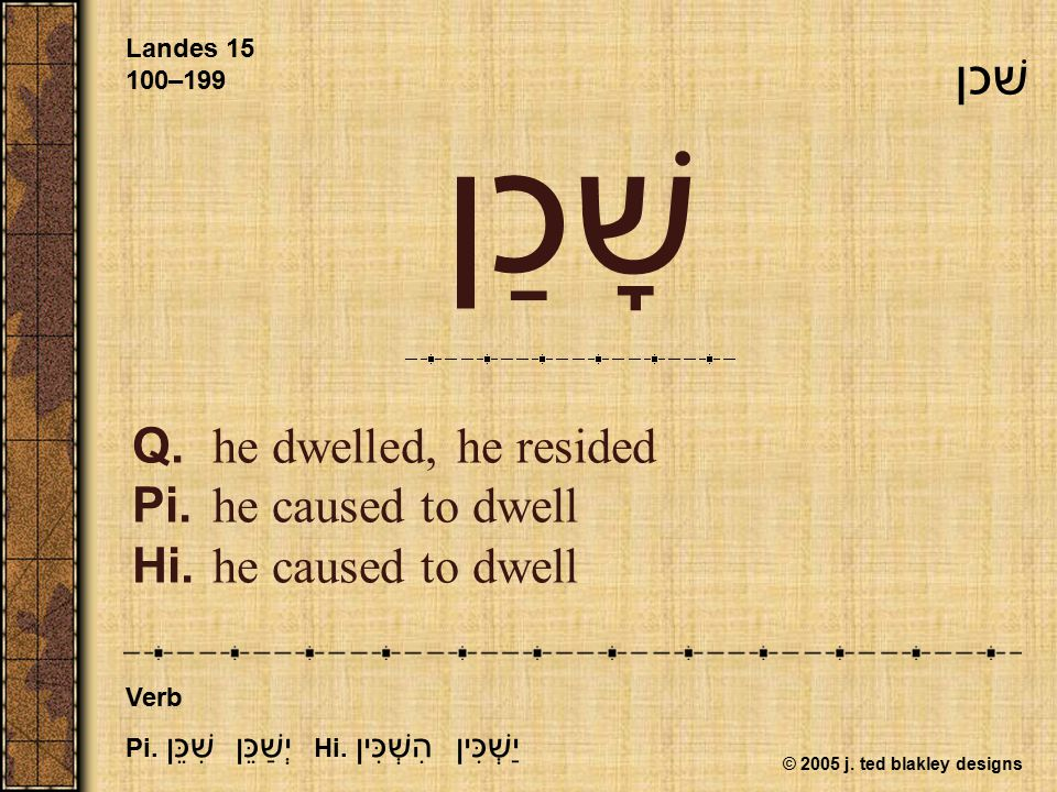© 2005 j. ted blakley designs שָׁכַן Q.he dwelled, he resided Pi.he caused to dwell Hi.he caused to dwell Landes 15 100–199 Verb Pi. יְשַׁכֵּן שִׁכֵּן