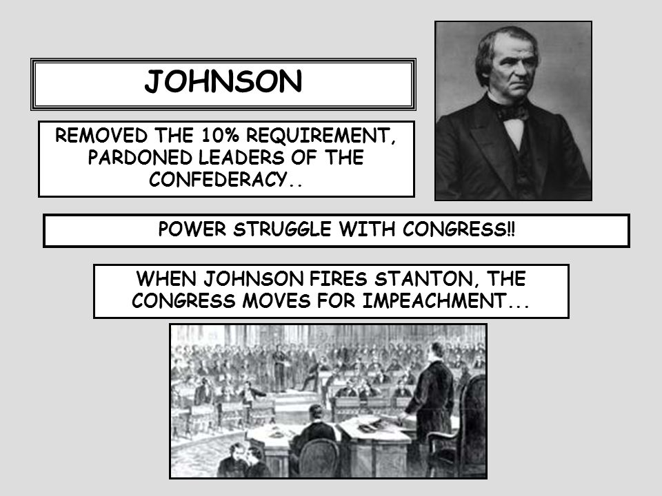 JOHNSON REMOVED THE 10% REQUIREMENT, PARDONED LEADERS OF THE CONFEDERACY..
