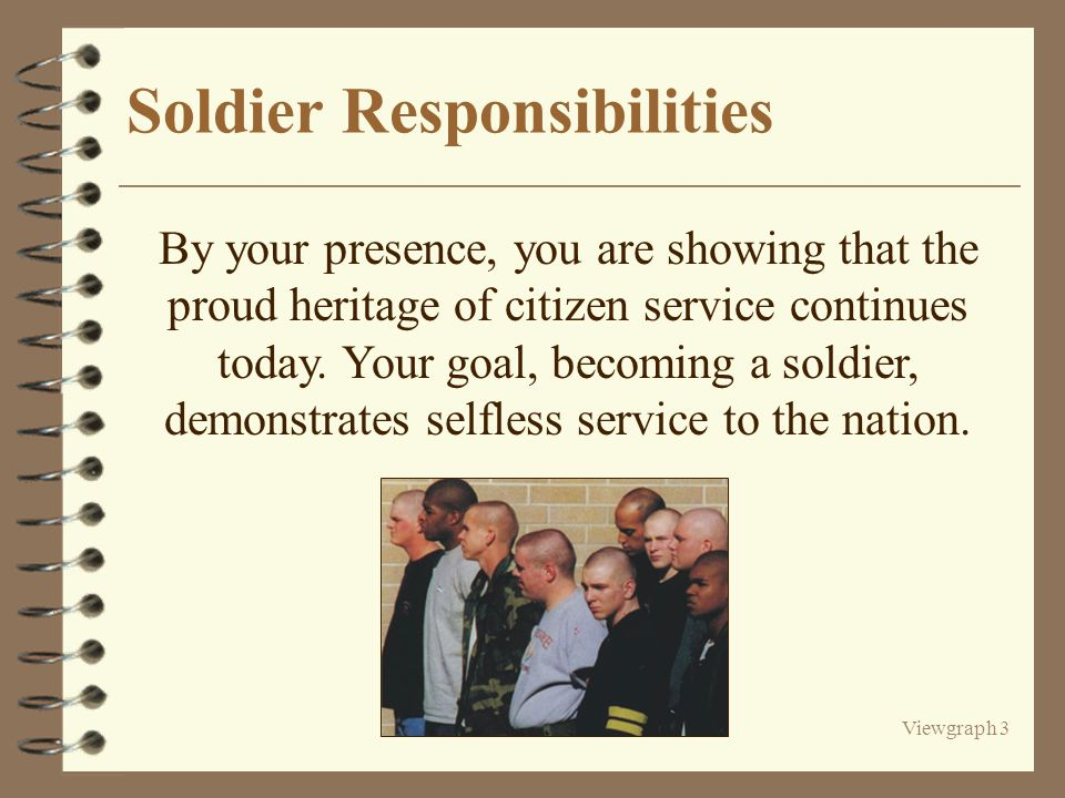 Viewgraph 3 Soldier Responsibilities By your presence, you are showing that the proud heritage of citizen service continues today.