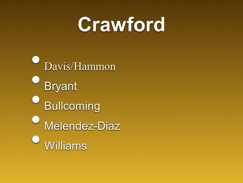 Crawford Davis/Hammon Bryant Bullcoming Melendez-Diaz Williams Davis/Hammon Bryant Bullcoming Melendez-Diaz Williams