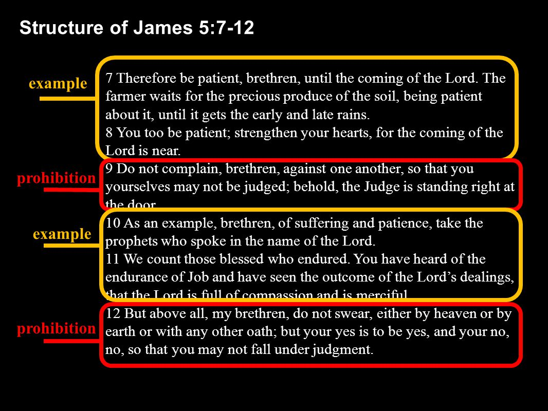 7 Therefore be patient, brethren, until the coming of the Lord.