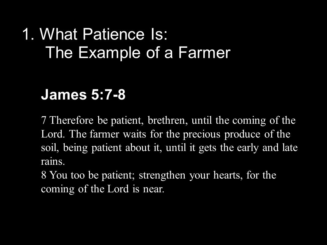 1. What Patience Is: The Example of a Farmer James 5:7-8 7 Therefore be patient, brethren, until the coming of the Lord. The farmer waits for the prec
