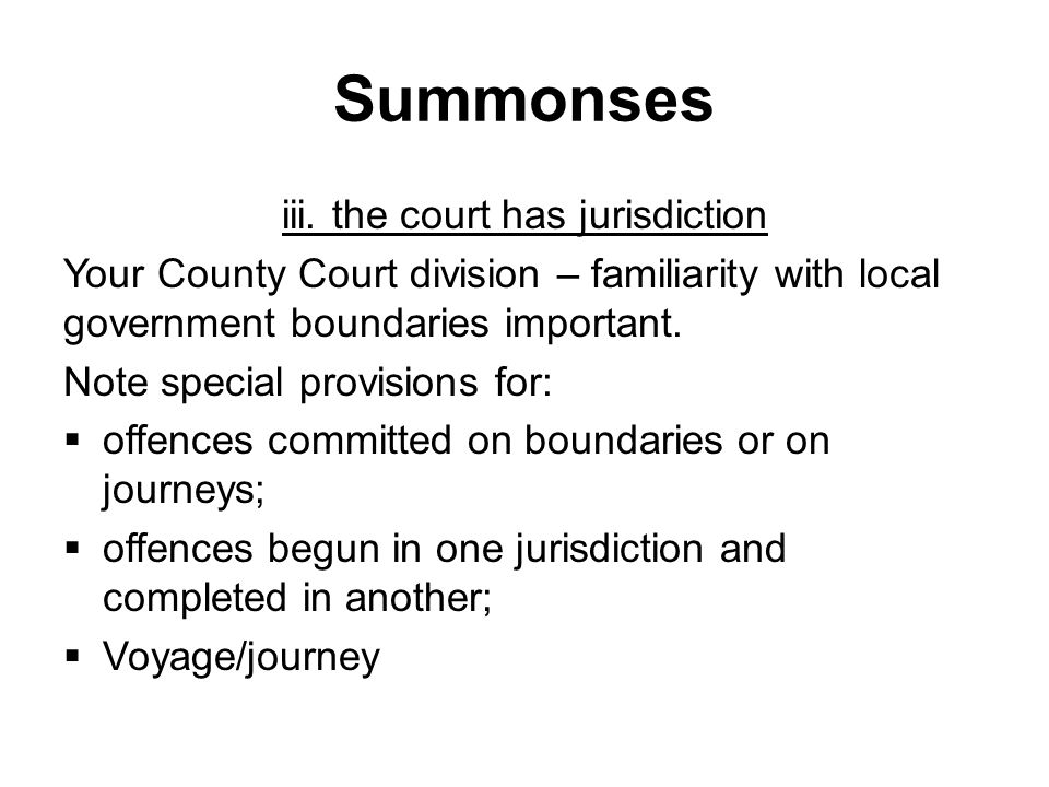Summonses iii.