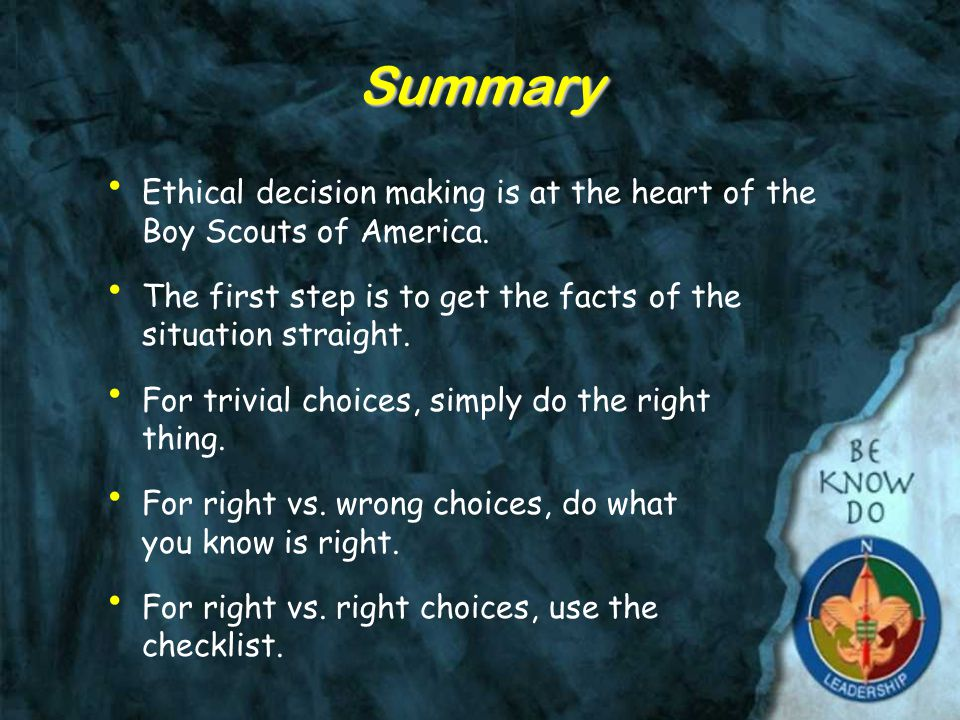 Practice using the Ethical Decisions Checklist