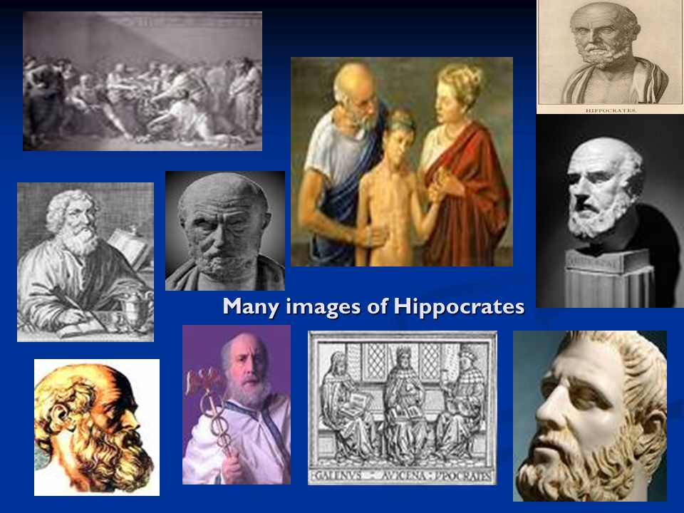 Many images of Hippocrates