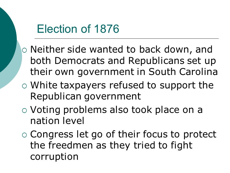Election of 1876  Neither side wanted to back down, and both Democrats and Republicans set up their own government in South Carolina  White taxpayers refused to support the Republican government  Voting problems also took place on a nation level  Congress let go of their focus to protect the freedmen as they tried to fight corruption