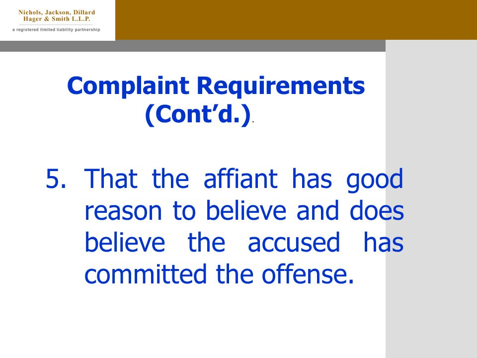 Complaint Requirements (Cont'd.).