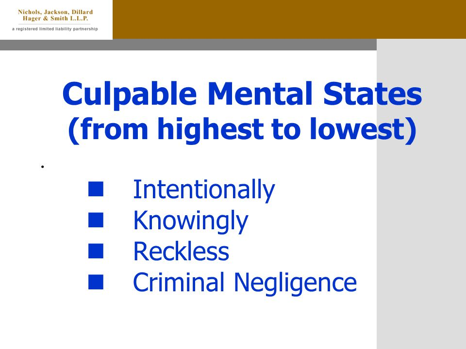 Culpable Mental States (from highest to lowest).