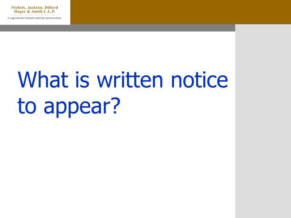 What is written notice to appear?
