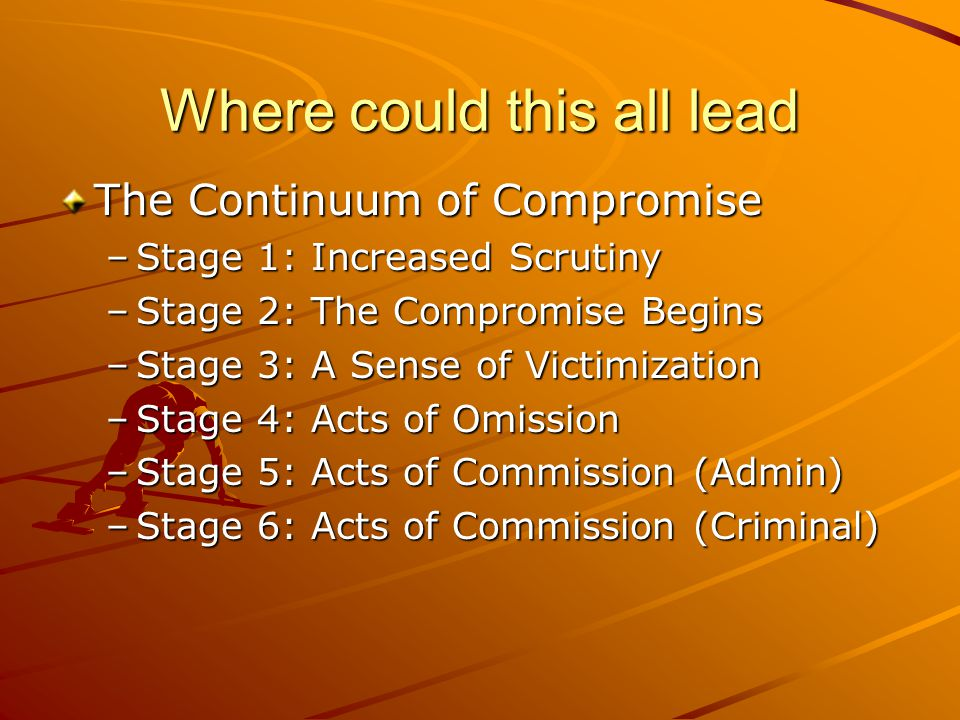 Where could this all lead The Continuum of Compromise –Stage 1: Increased Scrutiny –Stage 2: The Compromise Begins –Stage 3: A Sense of Victimization