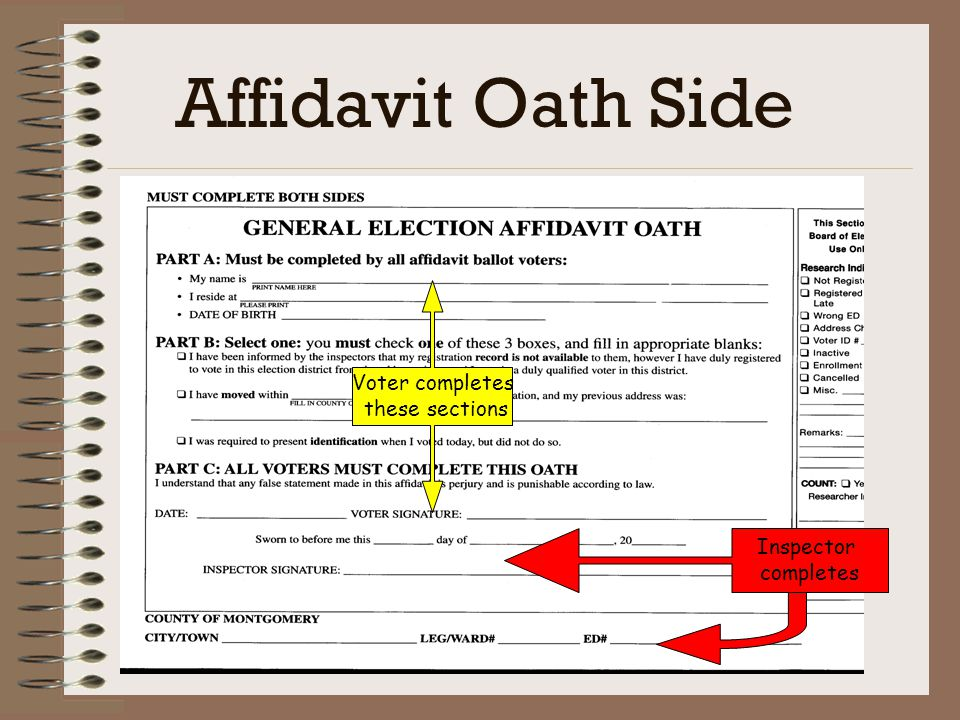 Affidavit Ballot Pre-printed ballot inserted in special envelope Voter must Completely fill out the front and back of envelope Sign and date Mark ballot and place inside envelope Return sealed envelope to inspector Inspector must Verify envelope for completeness Sign inspector section on oath side of envelope Complete affidavit section of poll book