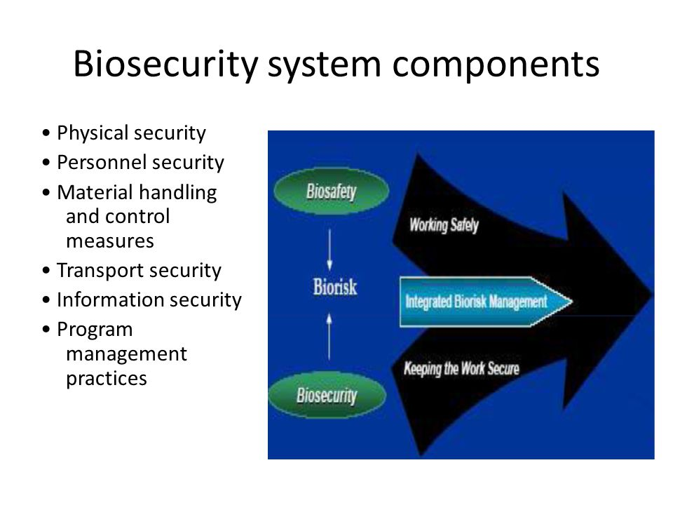 Biosecurity system components Physical security Personnel security Material handling and control measures Transport security Information security Program management practices