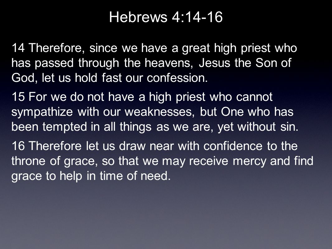 Hebrews Lesson 6 A High Priest on Our Side...