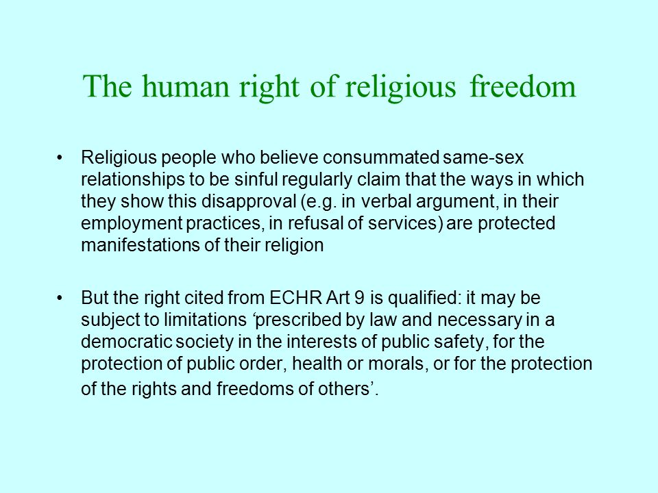 Other relevant human rights Art 8 ECHR guarantees respect for private and family life –This guarantee is also qualified (interference allowed e.g.