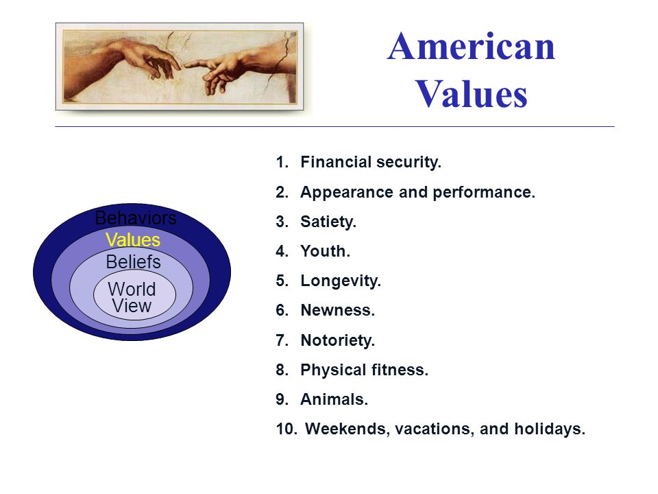 American Values 1.Financial security. 2.Appearance and performance.