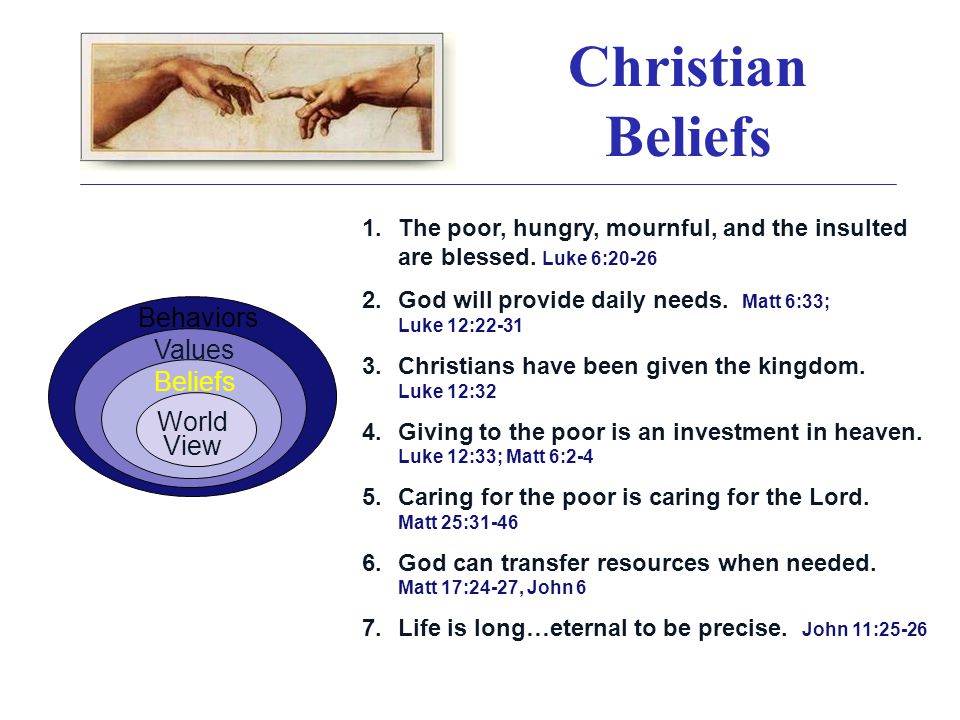 Christian Beliefs 1.The poor, hungry, mournful, and the insulted are blessed.