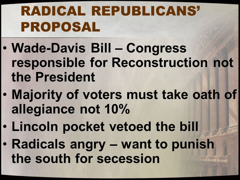 RADICAL REPUBLICANS' PROPOSAL Wade-Davis Bill – Congress responsible for Reconstruction not the President Majority of voters must take oath of allegia