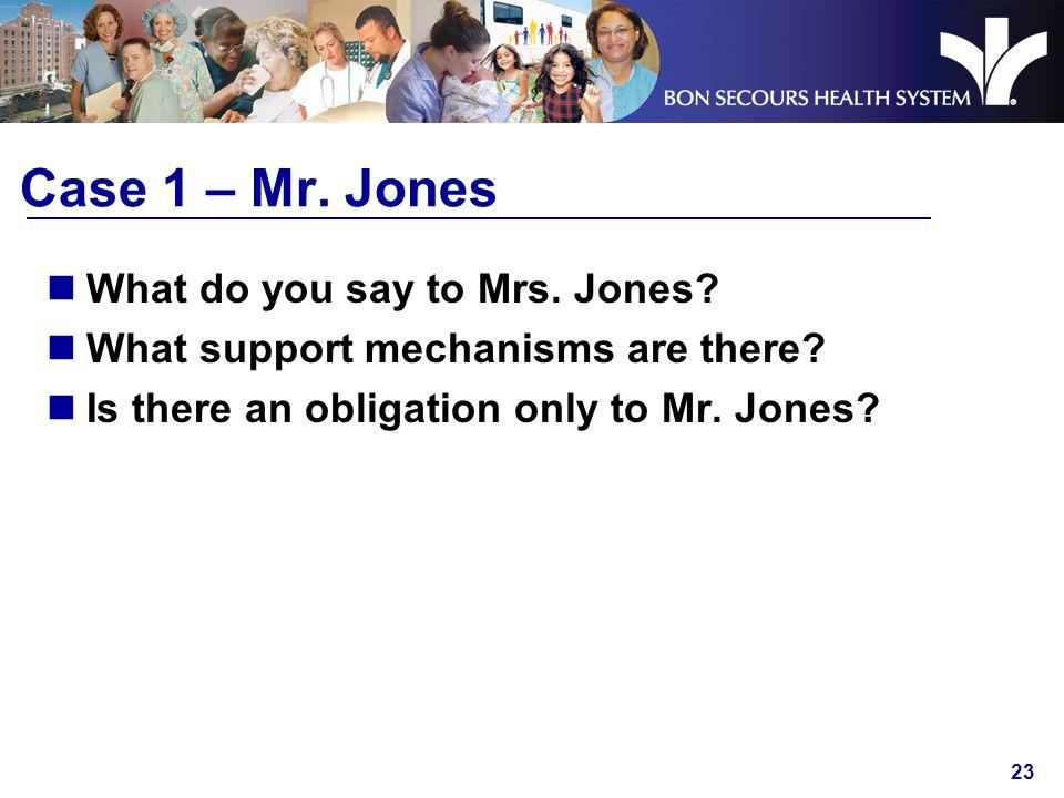 23 Case 1 – Mr. Jones What do you say to Mrs. Jones.