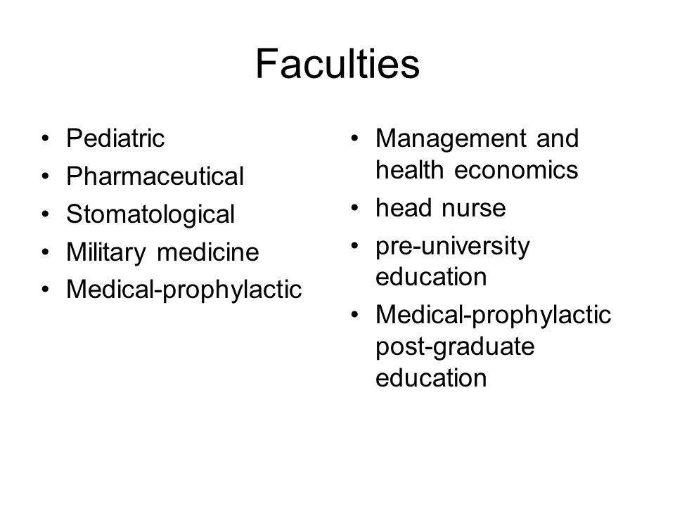 Faculties Pediatric Pharmaceutical Stomatological Military medicine Medical-prophylactic Management and health economics head nurse pre-university edu