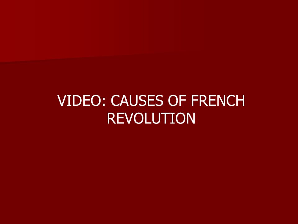 VIDEO: CAUSES OF FRENCH REVOLUTION