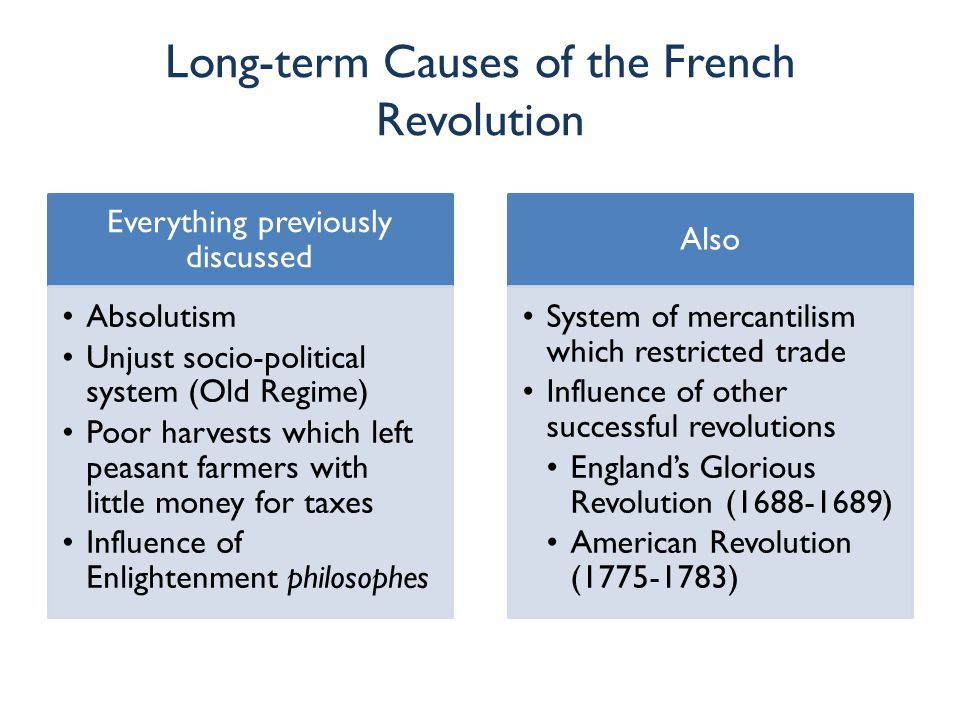 Long-term Causes of the French Revolution Everything previously discussed Absolutism Unjust socio-political system (Old Regime) Poor harvests which le