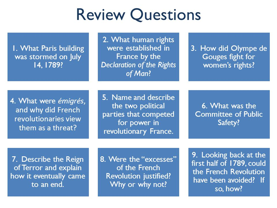 Review Questions 1. What Paris building was stormed on July 14, 1789? 2. What human rights were established in France by the Declaration of the Rights