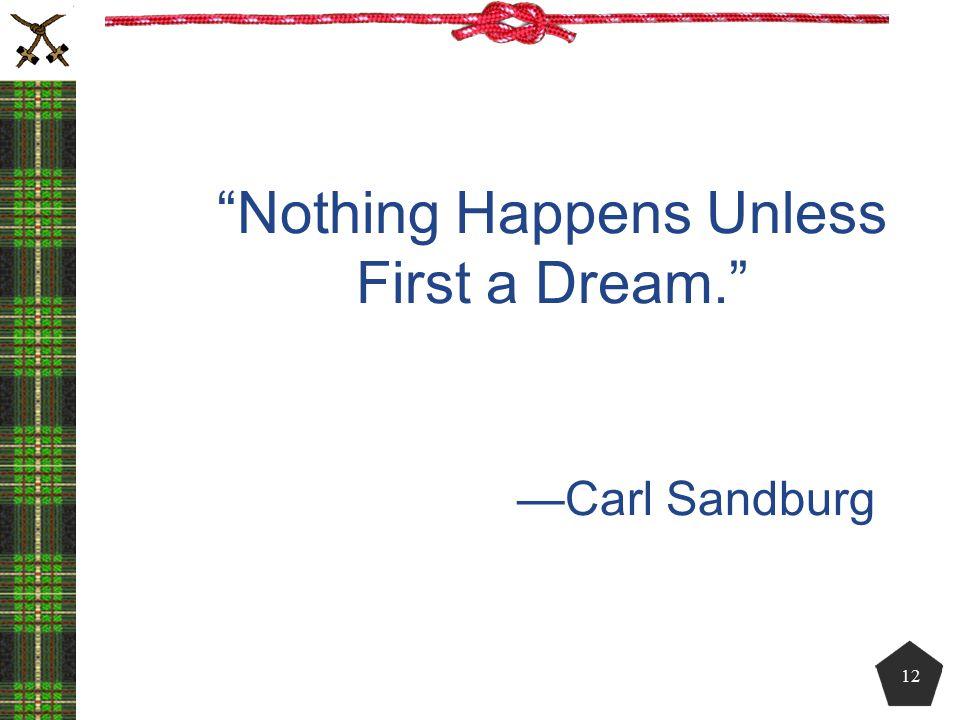 """Nothing Happens Unless First a Dream."" —Carl Sandburg 12"