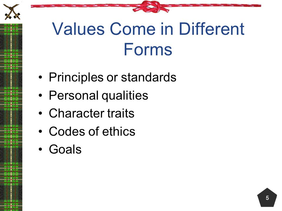 Values Come in Different Forms Principles or standards Personal qualities Character traits Codes of ethics Goals 5