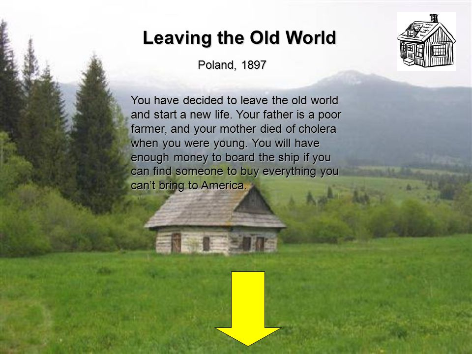 Leaving the Old World Poland, 1897 You have decided to leave the old world and start a new life.