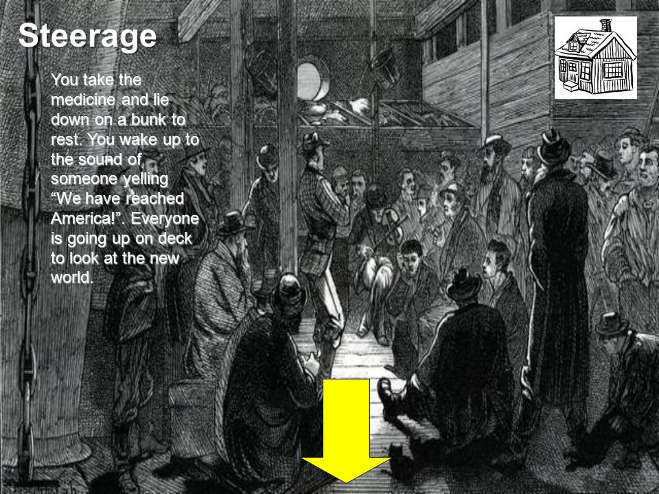 Steerage You take the medicine and lie down on a bunk to rest.