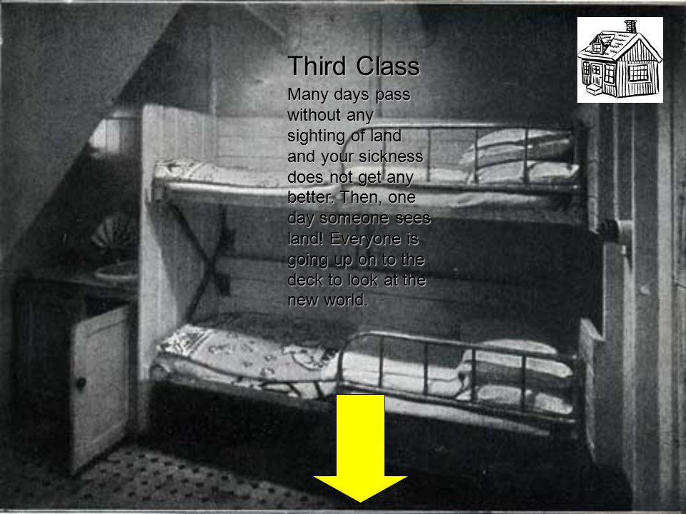 Third Class Many days pass without any sighting of land and your sickness does not get any better.