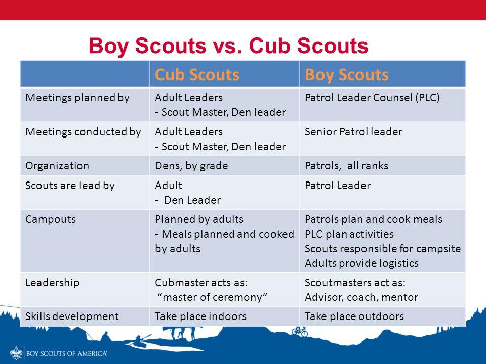 Cub ScoutsBoy Scouts Meetings planned byAdult Leaders - Scout Master, Den leader Patrol Leader Counsel (PLC) Meetings conducted byAdult Leaders - Scou