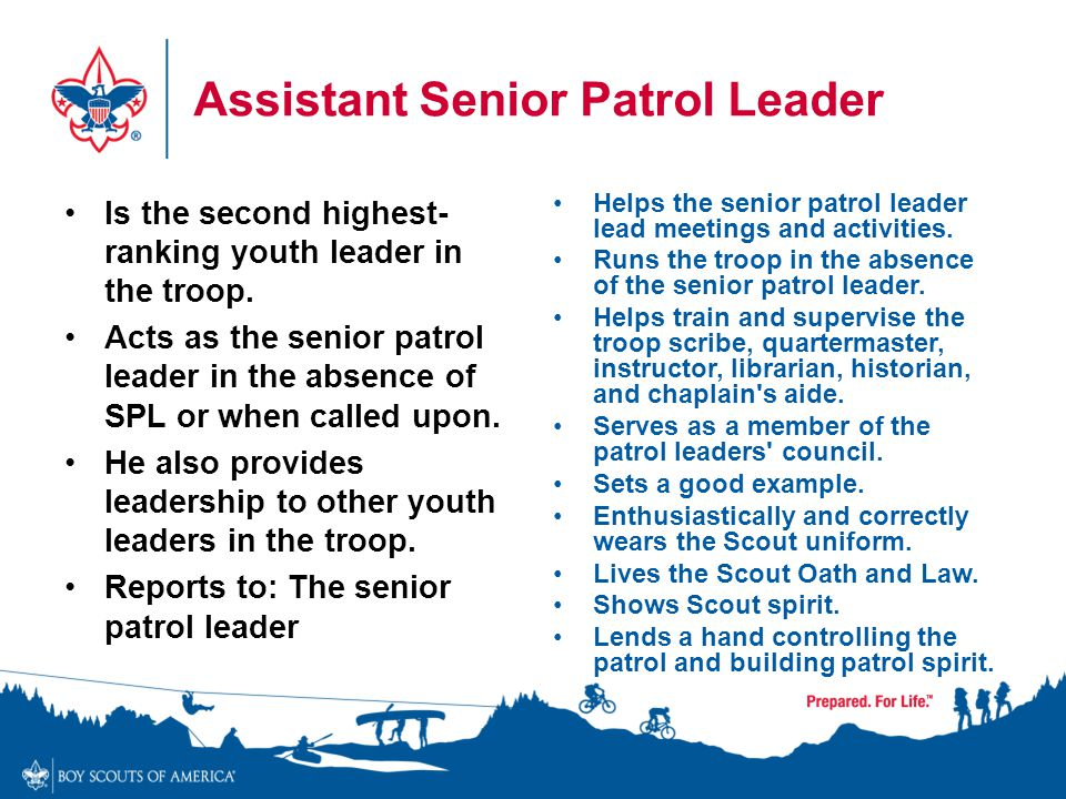 Assistant Senior Patrol Leader Is the second highest- ranking youth leader in the troop. Acts as the senior patrol leader in the absence of SPL or whe