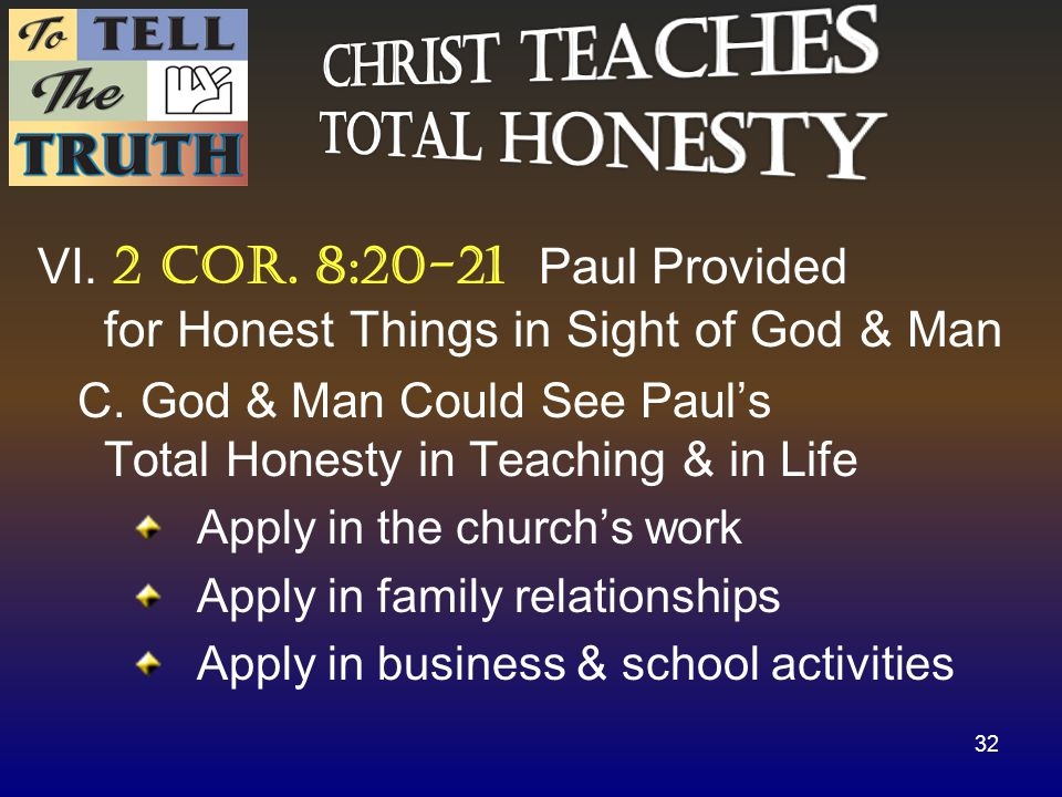 VI. 2 cor. 8:20-21 Paul Provided for Honest Things in Sight of God & Man C.