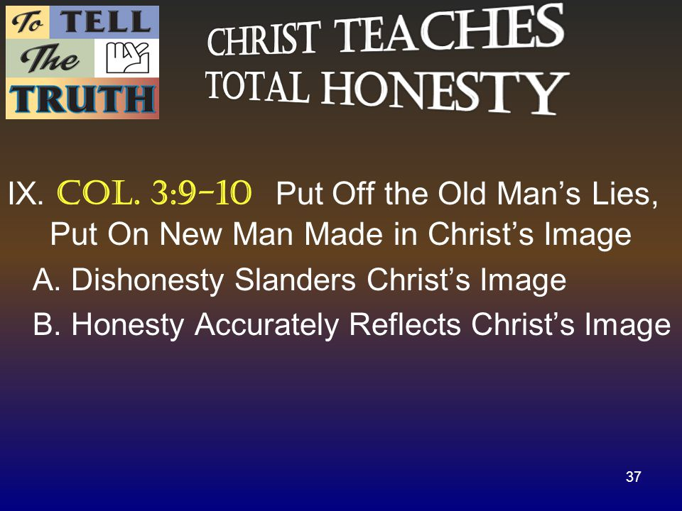 IX. Col. 3:9-10 Put Off the Old Man's Lies, Put On New Man Made in Christ's Image A.