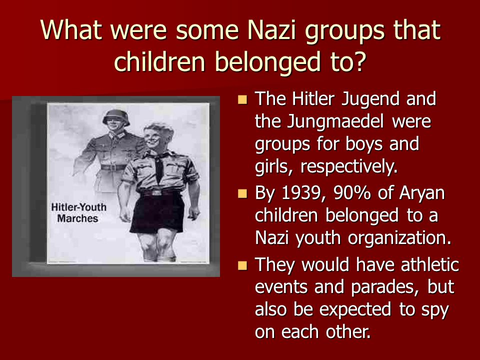 What were some Nazi groups that children belonged to.