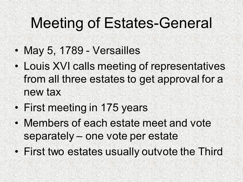 Meeting of Estates-General May 5, 1789 - Versailles Louis XVI calls meeting of representatives from all three estates to get approval for a new tax First meeting in 175 years Members of each estate meet and vote separately – one vote per estate First two estates usually outvote the Third