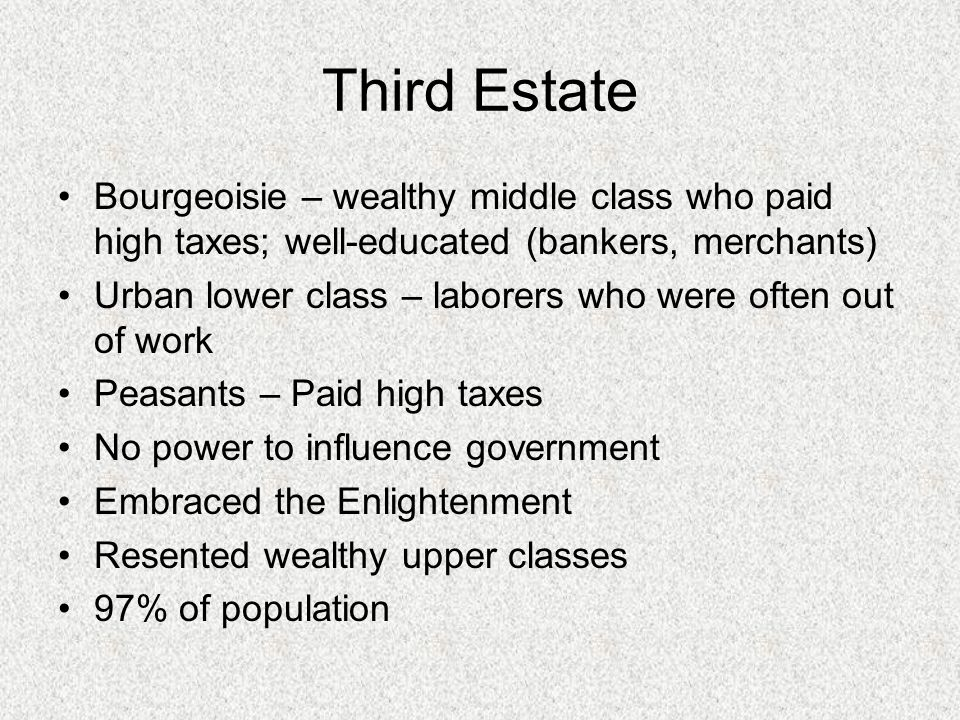 Third Estate Bourgeoisie – wealthy middle class who paid high taxes; well-educated (bankers, merchants) Urban lower class – laborers who were often out of work Peasants – Paid high taxes No power to influence government Embraced the Enlightenment Resented wealthy upper classes 97% of population